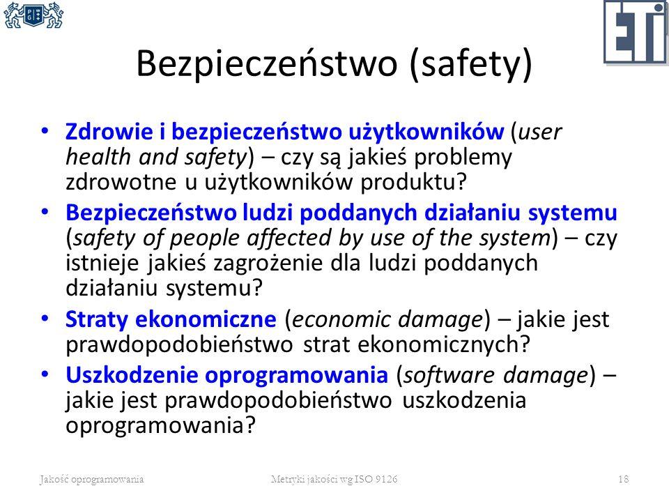 Bezpieczeństwo (safety) Zdrowie i bezpieczeństwo użytkowników (user health and safety) – czy są jakieś problemy zdrowotne u użytkowników produktu? Bez
