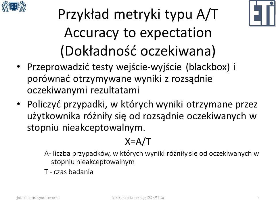 Przykład metryki typu A/T Accuracy to expectation (Dokładność oczekiwana) Przeprowadzić testy wejście-wyjście (blackbox) i porównać otrzymywane wyniki