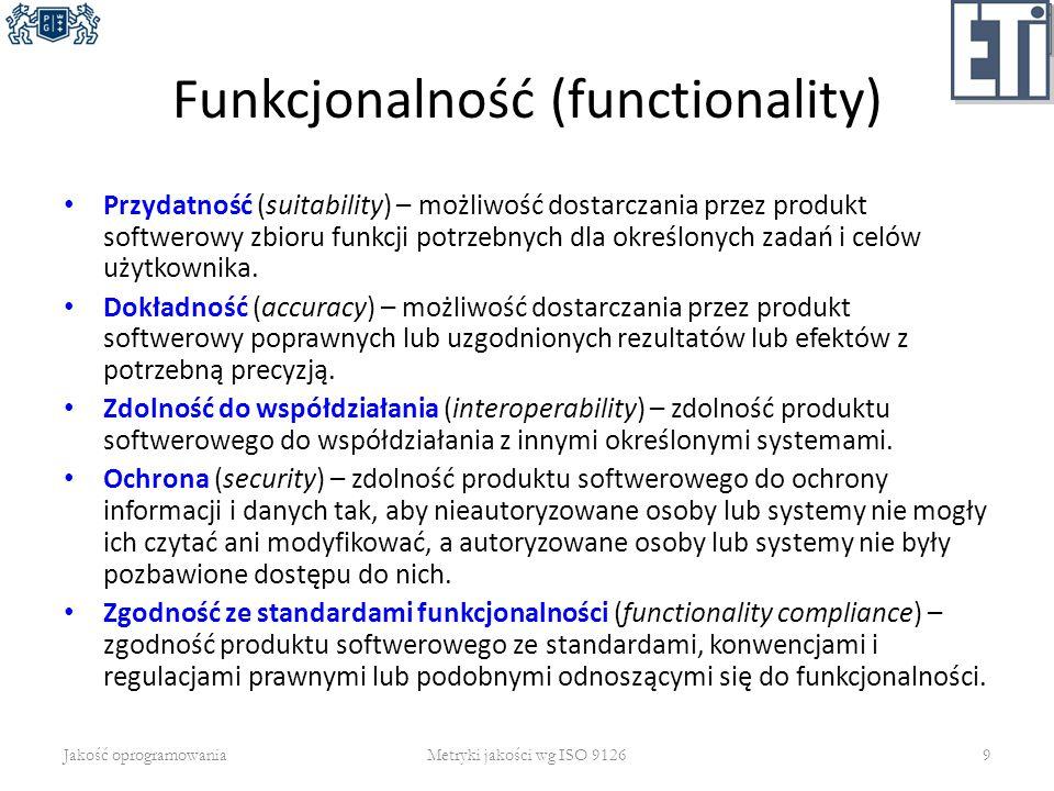 Funkcjonalność (functionality) Przydatność (suitability) – możliwość dostarczania przez produkt softwerowy zbioru funkcji potrzebnych dla określonych