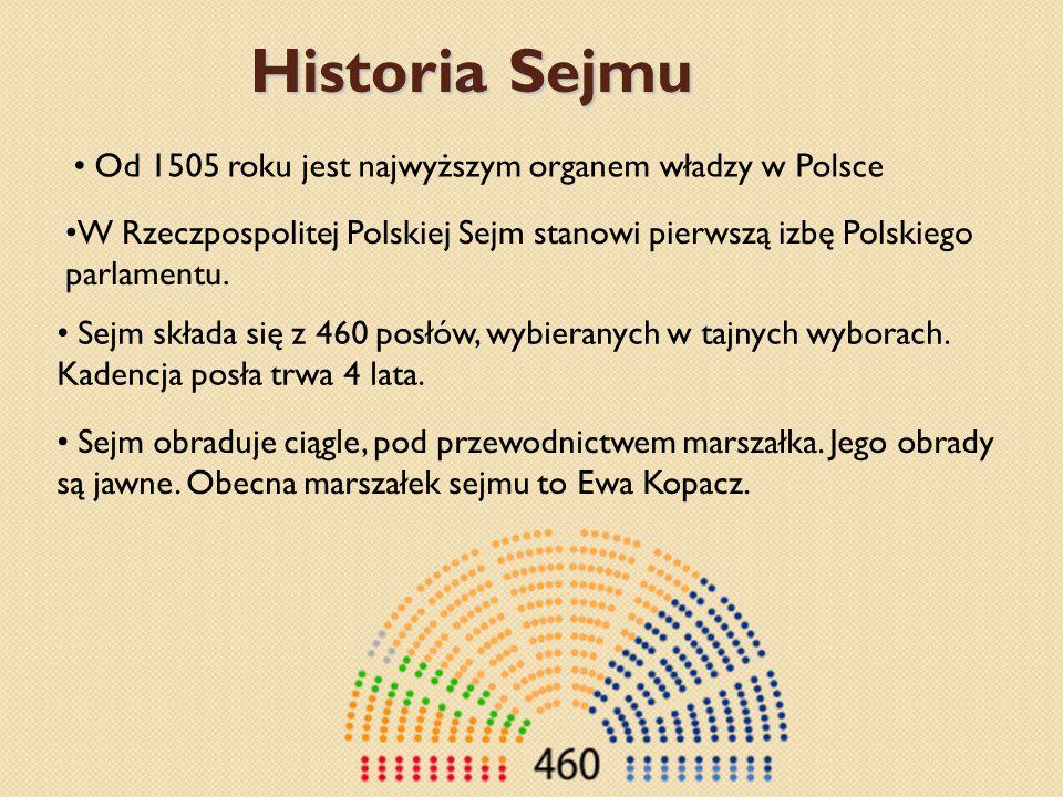 Historia Sejmu Od 1505 roku jest najwyższym organem władzy w Polsce W Rzeczpospolitej Polskiej Sejm stanowi pierwszą izbę Polskiego parlamentu.