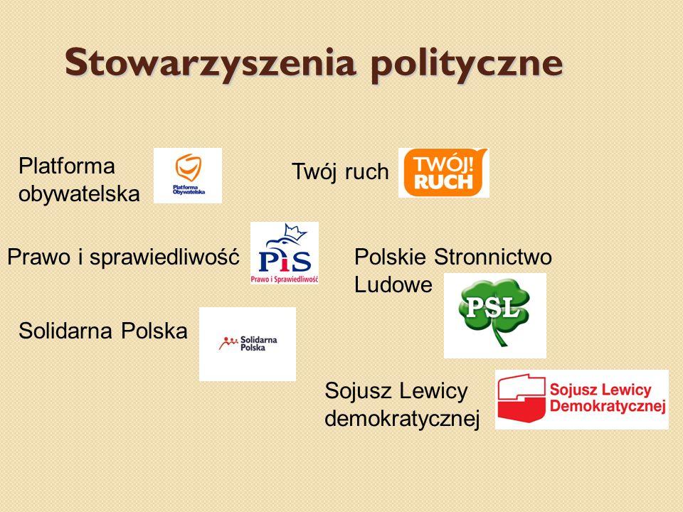 Stowarzyszenia polityczne Platforma obywatelska Prawo i sprawiedliwość Twój ruch Polskie Stronnictwo Ludowe Solidarna Polska Sojusz Lewicy demokratycznej