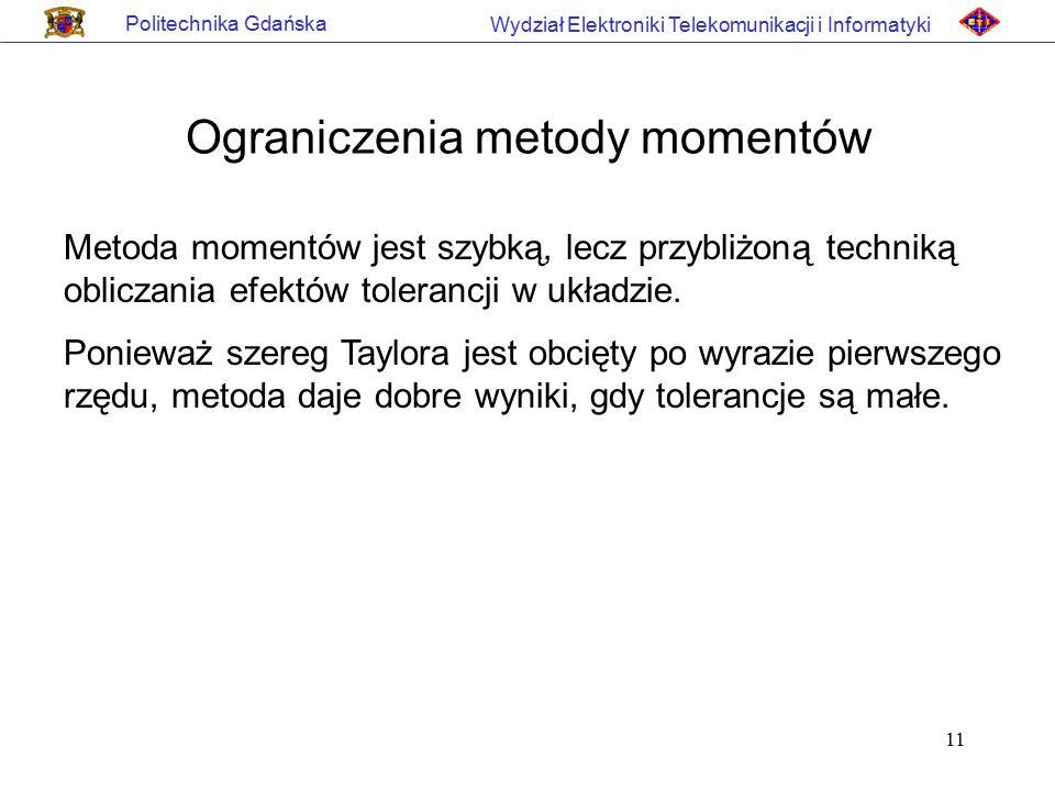 11 Politechnika Gdańska Wydział Elektroniki Telekomunikacji i Informatyki Ograniczenia metody momentów Metoda momentów jest szybką, lecz przybliżoną t