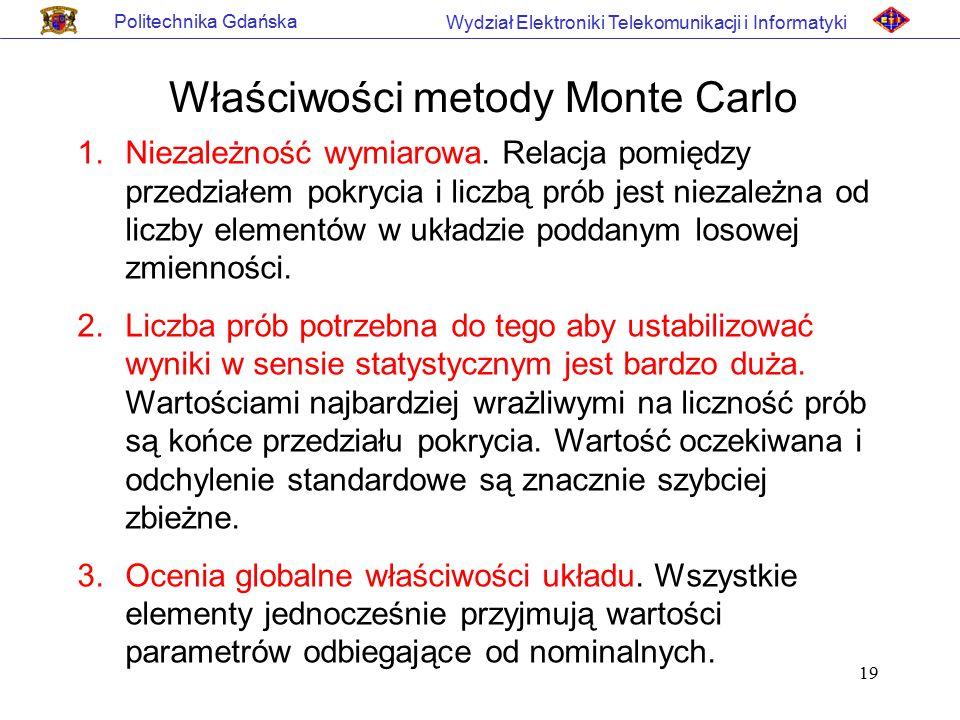 19 Politechnika Gdańska Wydział Elektroniki Telekomunikacji i Informatyki Właściwości metody Monte Carlo 1.Niezależność wymiarowa. Relacja pomiędzy pr