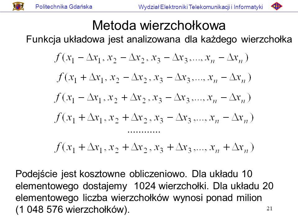 21 Politechnika Gdańska Wydział Elektroniki Telekomunikacji i Informatyki Metoda wierzchołkowa Funkcja układowa jest analizowana dla każdego wierzchoł