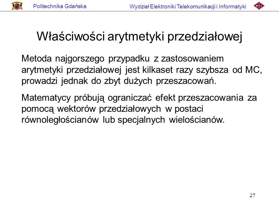 27 Politechnika Gdańska Wydział Elektroniki Telekomunikacji i Informatyki Właściwości arytmetyki przedziałowej Metoda najgorszego przypadku z zastosow