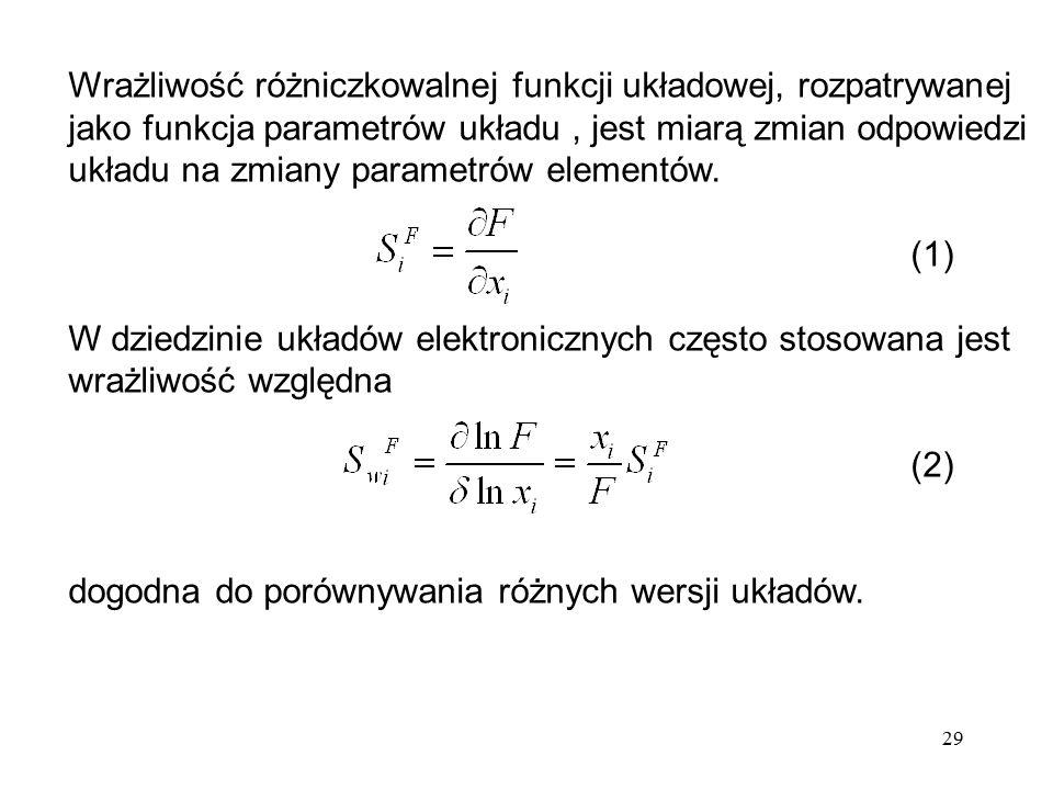 29 Wrażliwość różniczkowalnej funkcji układowej, rozpatrywanej jako funkcja parametrów układu, jest miarą zmian odpowiedzi układu na zmiany parametrów