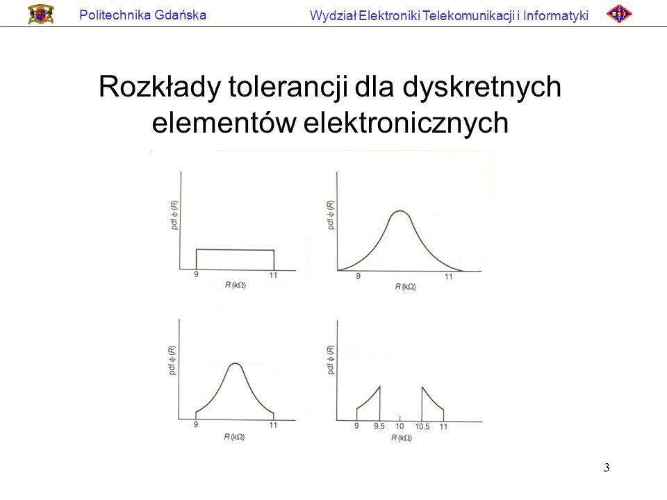 3 Politechnika Gdańska Wydział Elektroniki Telekomunikacji i Informatyki Rozkłady tolerancji dla dyskretnych elementów elektronicznych