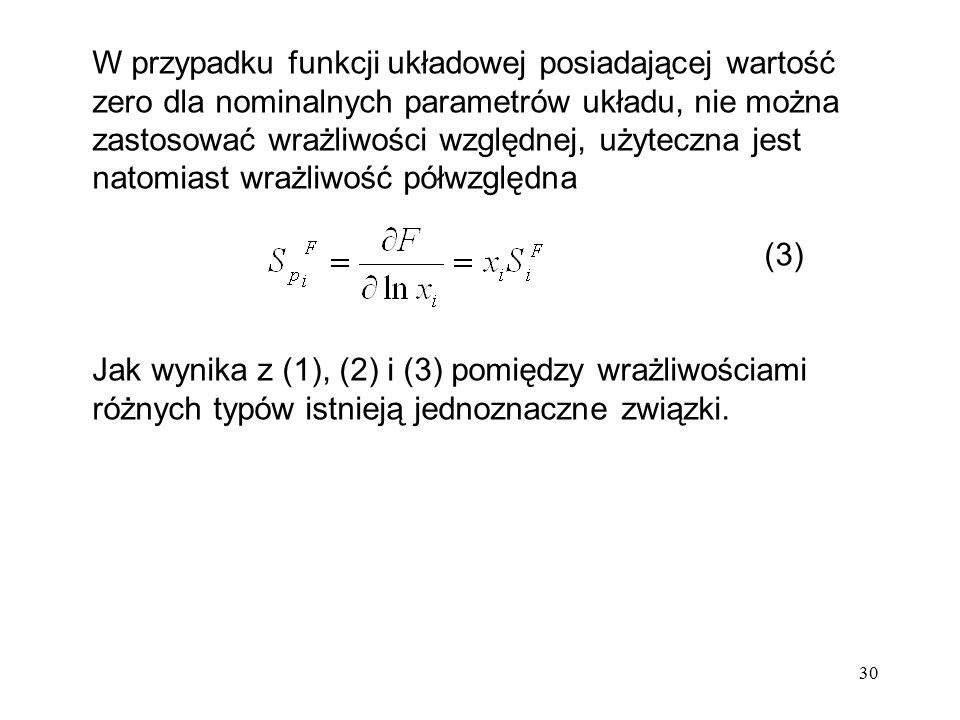 30 W przypadku funkcji układowej posiadającej wartość zero dla nominalnych parametrów układu, nie można zastosować wrażliwości względnej, użyteczna je