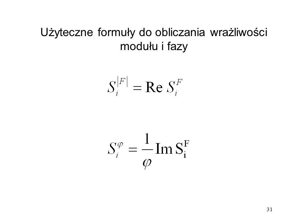 31 Użyteczne formuły do obliczania wrażliwości modułu i fazy