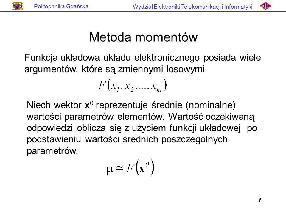8 Politechnika Gdańska Wydział Elektroniki Telekomunikacji i Informatyki Metoda momentów Funkcja układowa układu elektronicznego posiada wiele argumen