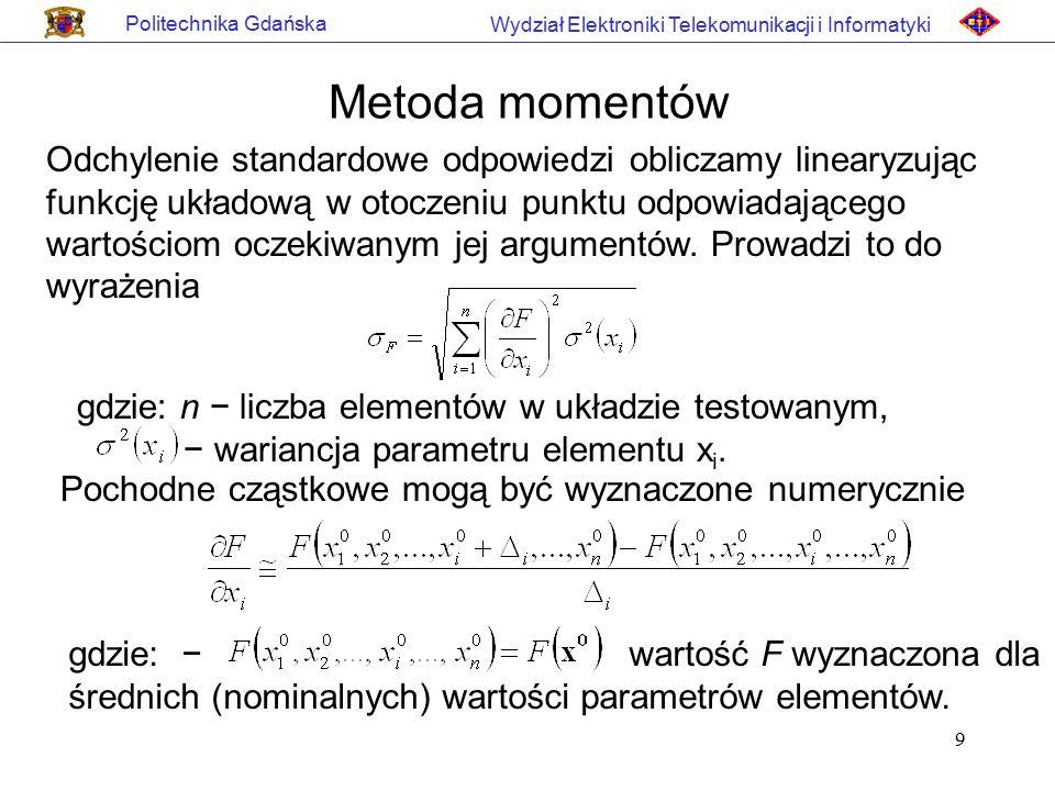9 Politechnika Gdańska Wydział Elektroniki Telekomunikacji i Informatyki Metoda momentów Odchylenie standardowe odpowiedzi obliczamy linearyzując funk