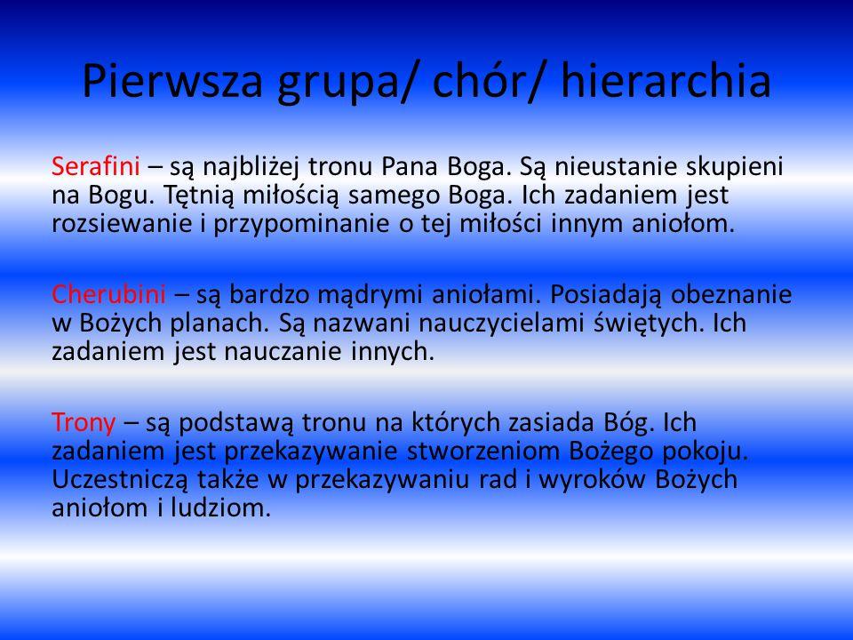 Pierwsza grupa/ chór/ hierarchia Serafini – są najbliżej tronu Pana Boga.