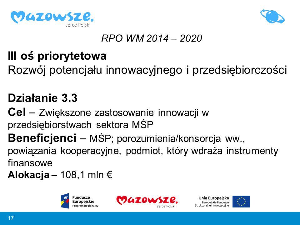 17 III oś priorytetowa Rozwój potencjału innowacyjnego i przedsiębiorczości Działanie 3.3 Cel – Zwiększone zastosowanie innowacji w przedsiębiorstwach