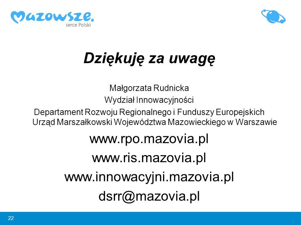 22 Dziękuję za uwagę Małgorzata Rudnicka Wydział Innowacyjności Departament Rozwoju Regionalnego i Funduszy Europejskich Urząd Marszałkowski Województ