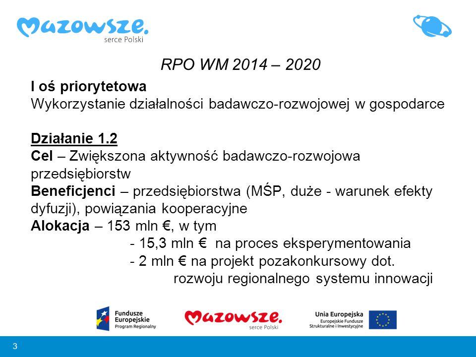 3 I oś priorytetowa Wykorzystanie działalności badawczo-rozwojowej w gospodarce Działanie 1.2 Cel – Zwiększona aktywność badawczo-rozwojowa przedsiębi