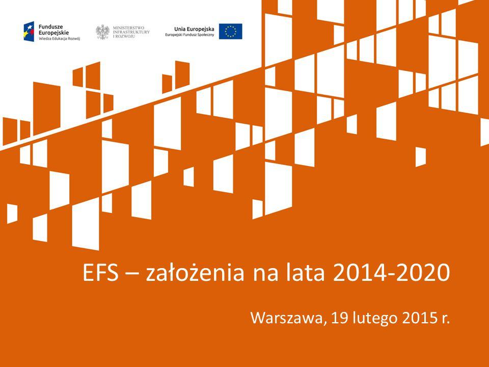 Mądre wykorzystanie EFS 2014-2020 2014-2020 – ostatnia perspektywa z tak dużymi środkami EFS (15 regionów w kategorii najsłabiej rozwiniętych) Mniej środków z funduszy europejskich w kolejnej perspektywie Wykorzystanie EFS w latach 2014-2020 w taki sposób, aby z efektów interwencji można było korzystać po tym okresie (akcent na wypracowanie trwałych rozwiązań, które będą funkcjonowały po zakończeniu finansowania z EFS)