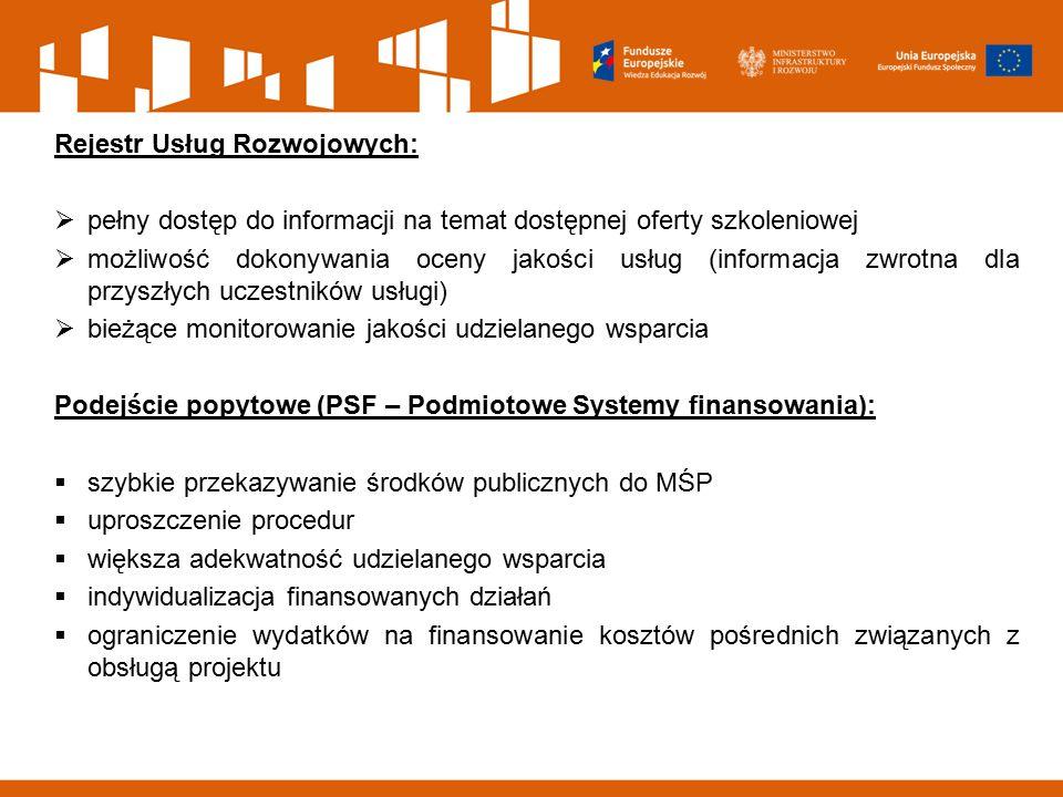 Rejestr Usług Rozwojowych:  pełny dostęp do informacji na temat dostępnej oferty szkoleniowej  możliwość dokonywania oceny jakości usług (informacja