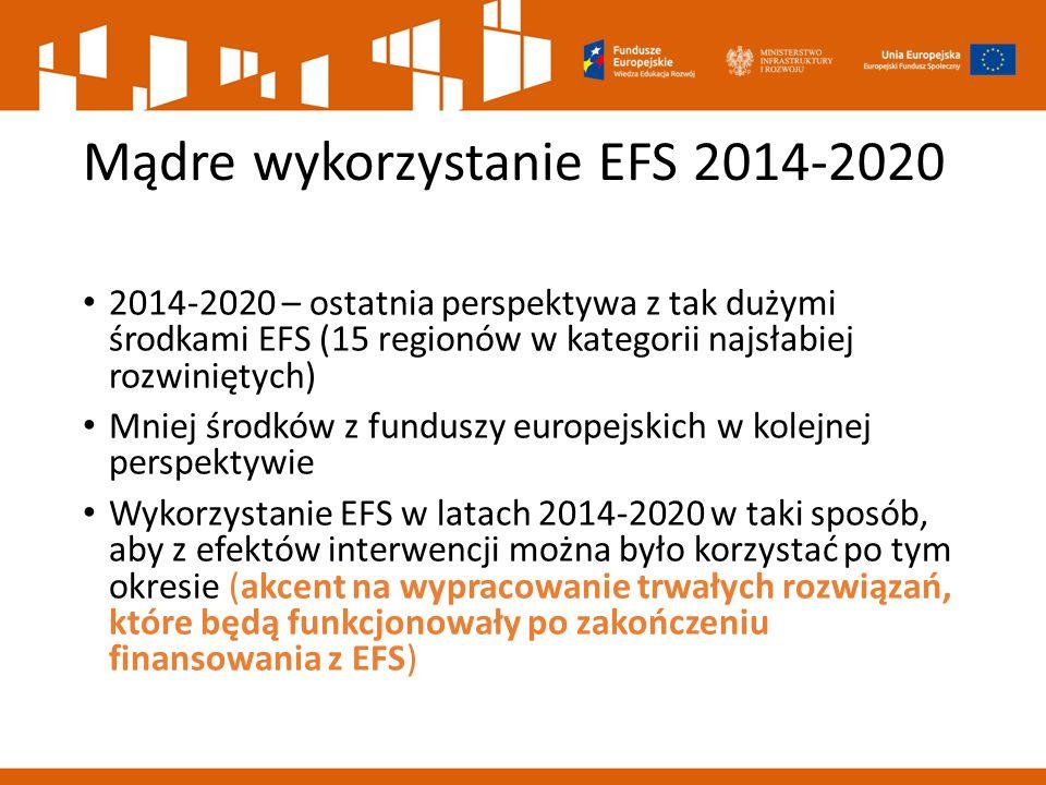 Mądre wykorzystanie EFS 2014-2020 2014-2020 – ostatnia perspektywa z tak dużymi środkami EFS (15 regionów w kategorii najsłabiej rozwiniętych) Mniej ś