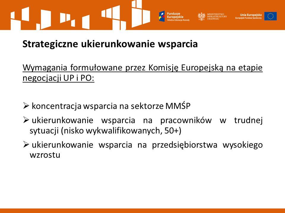 Strategiczne ukierunkowanie wsparcia Wymagania formułowane przez Komisję Europejską na etapie negocjacji UP i PO:  koncentracja wsparcia na sektorze