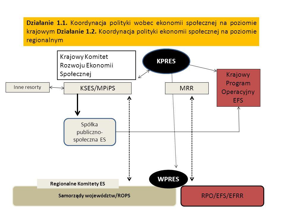 Działanie 1.1.Koordynacja polityki wobec ekonomii społecznej na poziomie krajowym Działanie 1.2.