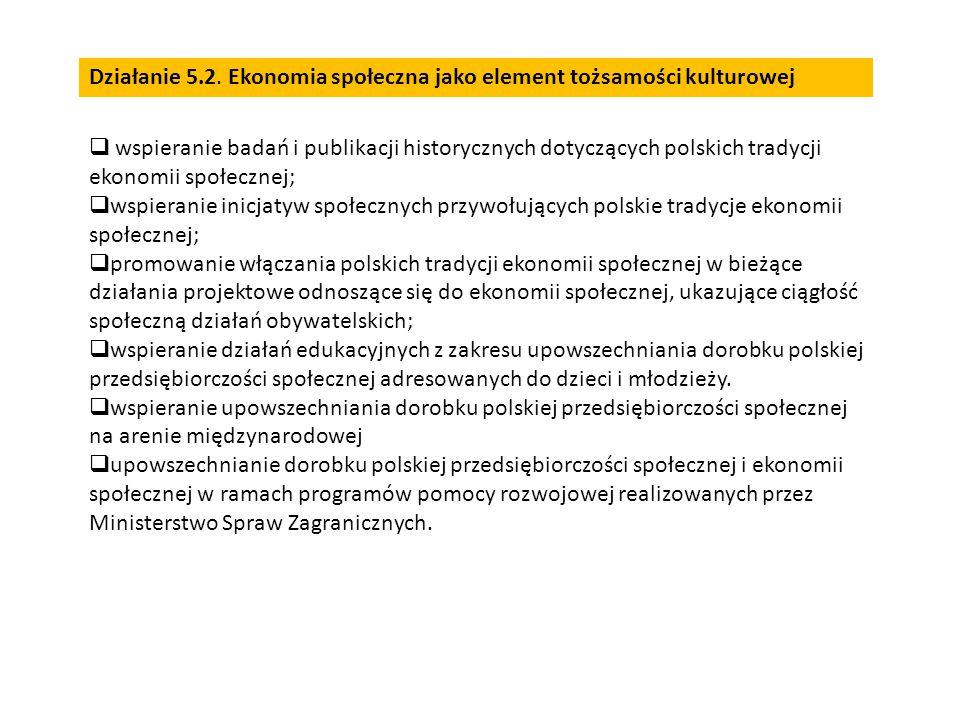  wspieranie badań i publikacji historycznych dotyczących polskich tradycji ekonomii społecznej;  wspieranie inicjatyw społecznych przywołujących polskie tradycje ekonomii społecznej;  promowanie włączania polskich tradycji ekonomii społecznej w bieżące działania projektowe odnoszące się do ekonomii społecznej, ukazujące ciągłość społeczną działań obywatelskich;  wspieranie działań edukacyjnych z zakresu upowszechniania dorobku polskiej przedsiębiorczości społecznej adresowanych do dzieci i młodzieży.