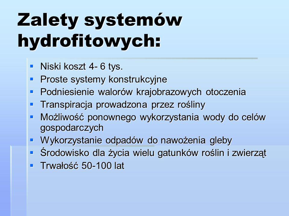 Zalety systemów hydrofitowych:  Niski koszt 4- 6 tys.