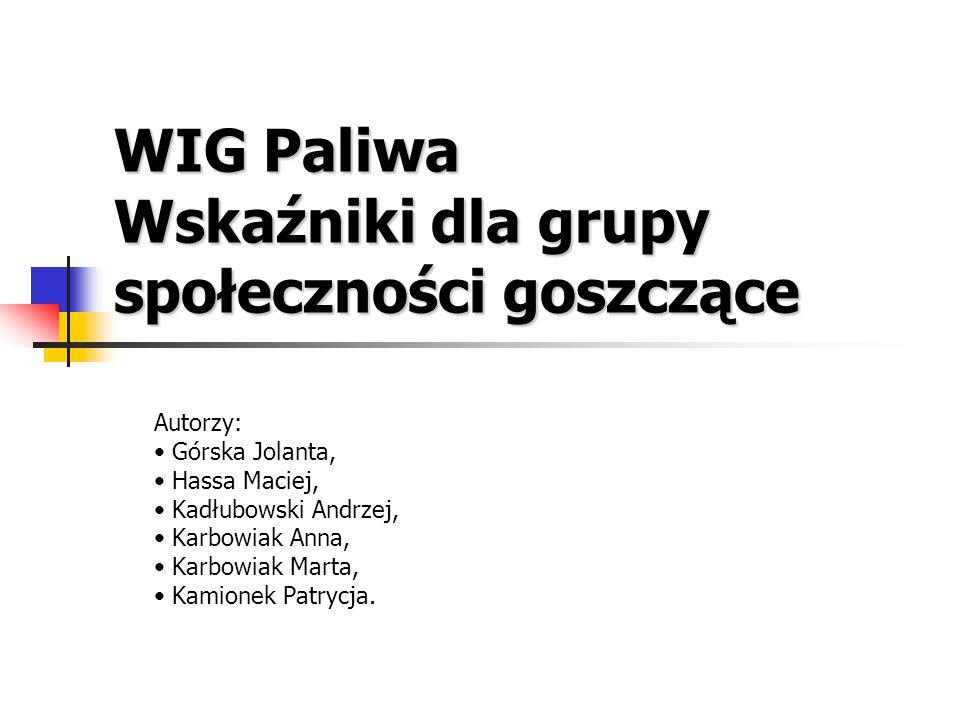 WIG Paliwa Wskaźniki dla grupy społeczności goszczące Autorzy: Górska Jolanta, Hassa Maciej, Kadłubowski Andrzej, Karbowiak Anna, Karbowiak Marta, Kamionek Patrycja.