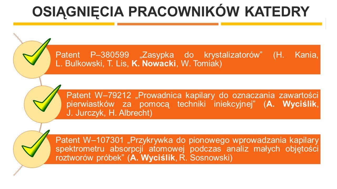 """OSIĄGNIĘCIA PRACOWNIKÓW KATEDRY Patent P–380599 """"Zasypka do krystalizatorów"""" (H. Kania, L. Bulkowski, T. Lis, K. Nowacki, W. Tomiak) Patent W–79212 """"P"""