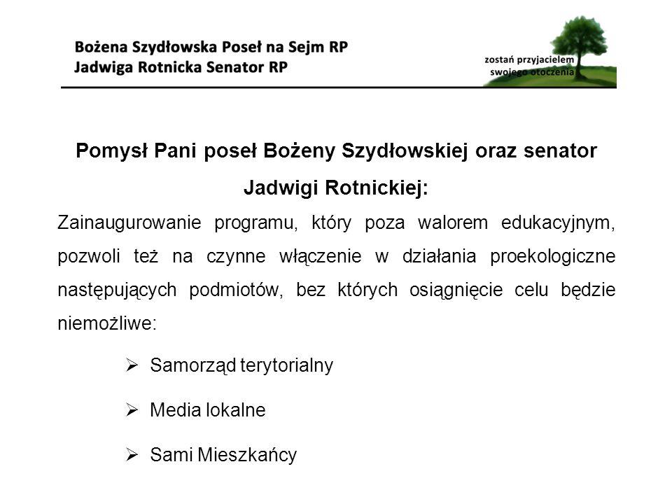 Pomysł Pani poseł Bożeny Szydłowskiej oraz senator Jadwigi Rotnickiej: Zainaugurowanie programu, który poza walorem edukacyjnym, pozwoli też na czynne włączenie w działania proekologiczne następujących podmiotów, bez których osiągnięcie celu będzie niemożliwe:  Samorząd terytorialny  Media lokalne  Sami Mieszkańcy
