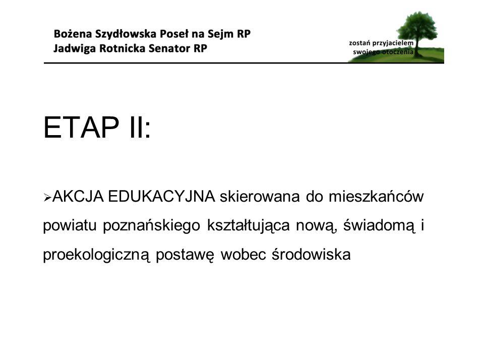 ETAP II:  AKCJA EDUKACYJNA skierowana do mieszkańców powiatu poznańskiego kształtująca nową, świadomą i proekologiczną postawę wobec środowiska