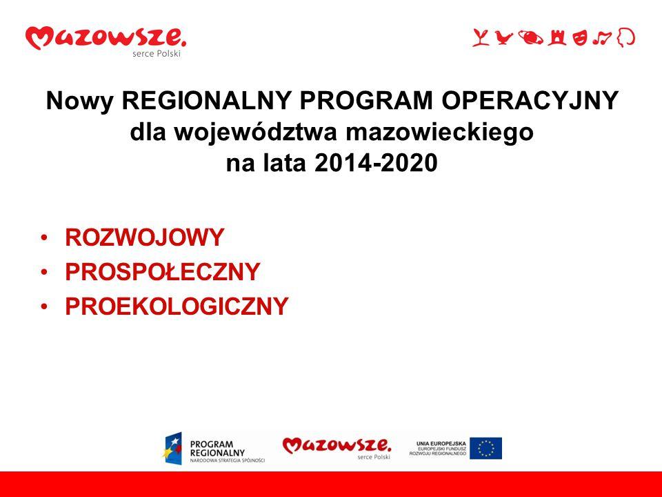Nowy REGIONALNY PROGRAM OPERACYJNY dla województwa mazowieckiego na lata 2014-2020 ROZWOJOWY PROSPOŁECZNY PROEKOLOGICZNY