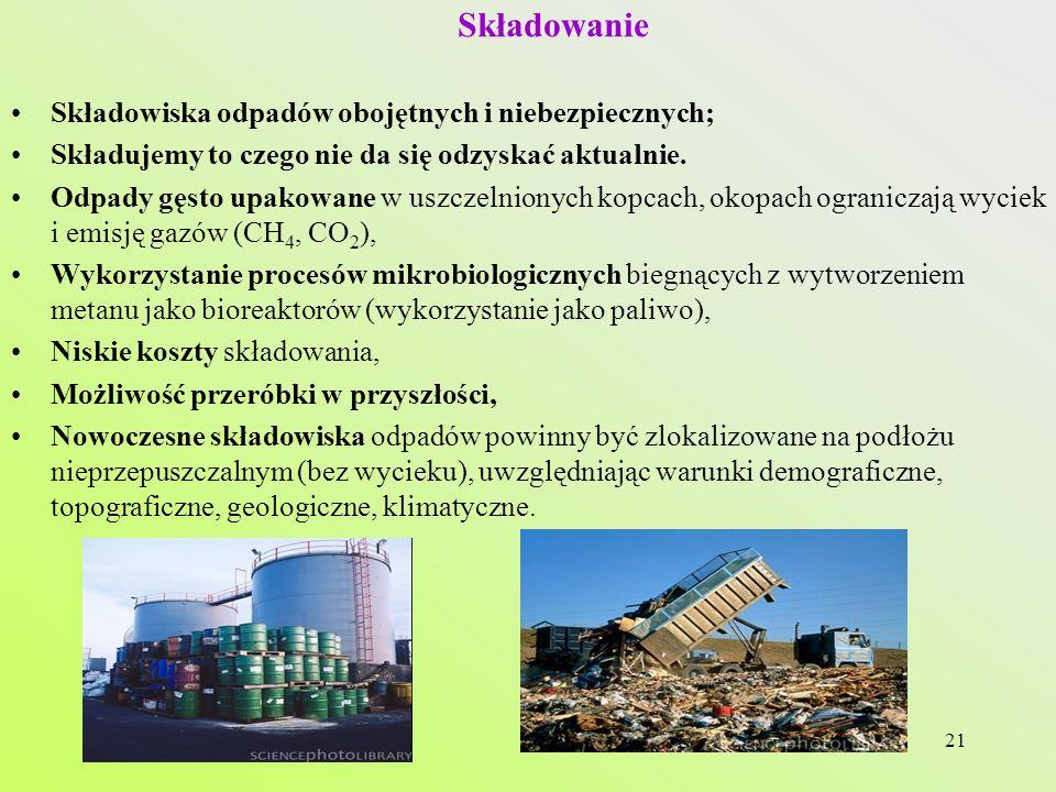 21 Składowanie Składowiska odpadów obojętnych i niebezpiecznych; Składujemy to czego nie da się odzyskać aktualnie.