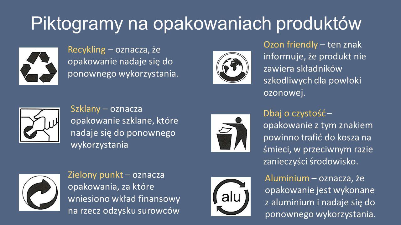Piktogramy na opakowaniach produktów Recykling – oznacza, że opakowanie nadaje się do ponownego wykorzystania. Szklany – oznacza opakowanie szklane, k