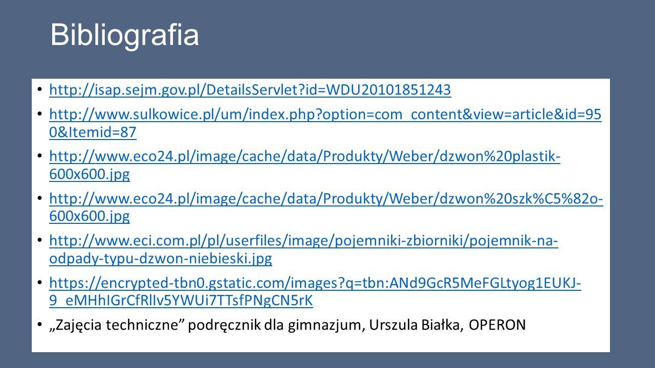 Bibliografia http://isap.sejm.gov.pl/DetailsServlet?id=WDU20101851243 http://www.sulkowice.pl/um/index.php?option=com_content&view=article&id=95 0&Ite