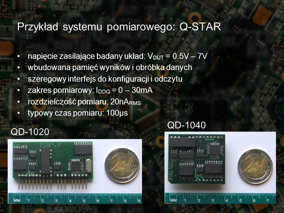 napięcie zasilające badany układ: V DUT = 0.5V – 7V wbudowana pamięć wyników i obróbka danych szeregowy interfejs do konfiguracji i odczytu zakres pomiarowy: I DDQ = 0 – 30mA rozdzielczość pomiaru: 20nA RMS typowy czas pomiaru: 100µs QD-1040 QD-1020