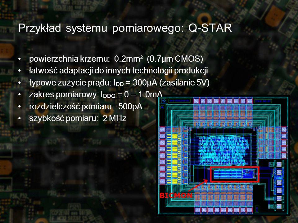 Przykład systemu pomiarowego: Q-STAR powierzchnia krzemu: 0.2mm² (0.7µm CMOS) łatwość adaptacji do innych technologii produkcji typowe zużycie prądu: I DD = 300µA (zasilanie 5V) zakres pomiarowy: I DDQ = 0 – 1.0mA rozdzielczość pomiaru: 500pA szybkość pomiaru: 2 MHz