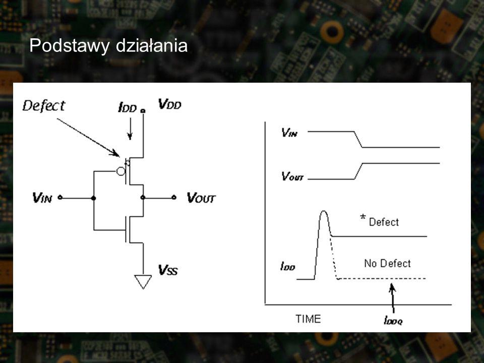 Projektowanie z uwzględnieniem testowania - DfT podciąganie sygnałów do stałego poziomu –rezystory pull-up lub pull-down przy pinach wejściowo- wyjściowych –eliminacja, zasilanie linii wyjściowych z osobnego źródła lub wyłączanie na czas pomiaru układy pobierające prąd w stanie spoczynku –wzmacniacze w blokach pamięci –unikanie lub zasilanie z osobnego źródła wewnętrzne linie trójstanowe –mogą powodować zwiększony pobór prądu nawet gdy funkcjonują prawidłowo –projektowanie odpowiednich kontrolerów magistral