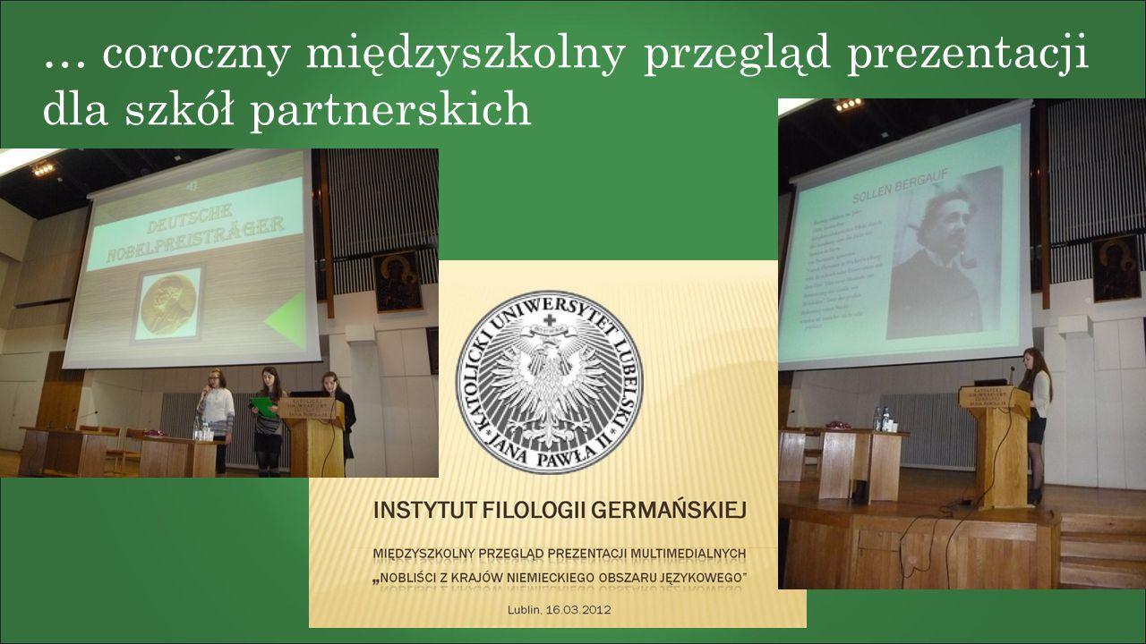 … coroczny międzyszkolny przegląd prezentacji dla szkół partnerskich