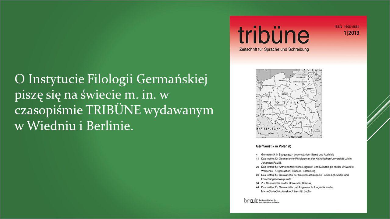O Instytucie Filologii Germańskiej piszę się na świecie m.