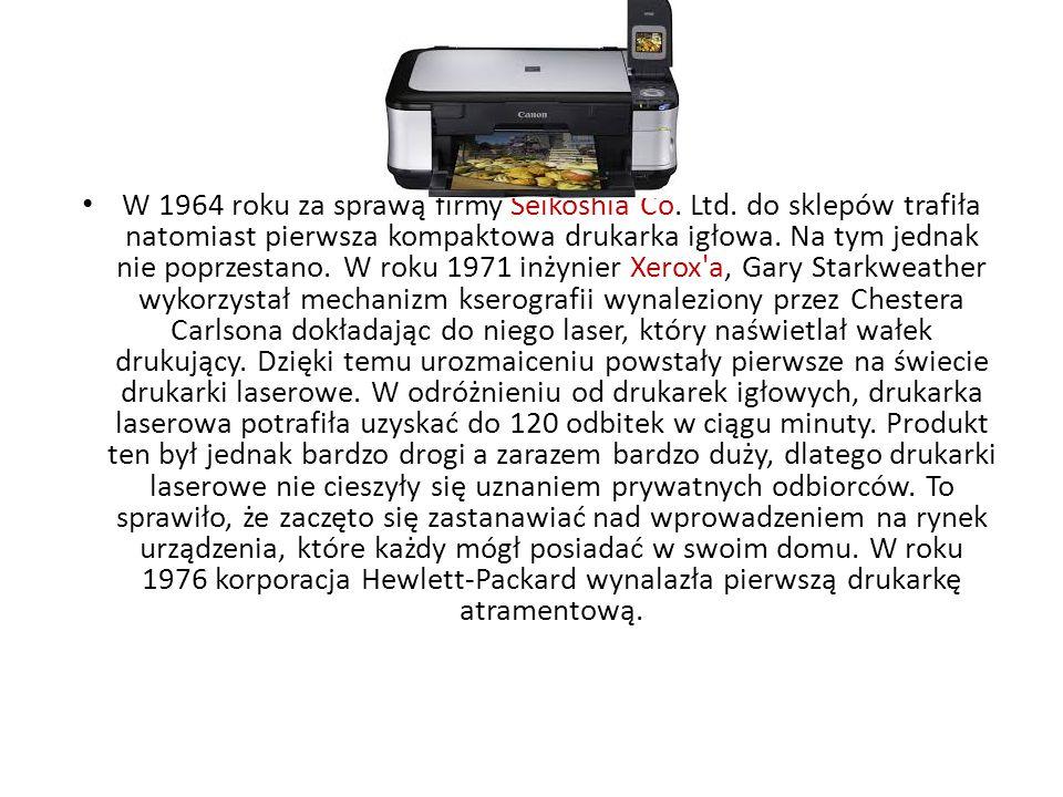 Definicja drukarki- Podłączane do komputera urządzenie, które pobiera z niego dane (grafikę lub tekst), by następnie odwzorować (wydrukować) je na kartce papieru odpowiedniego formatu.