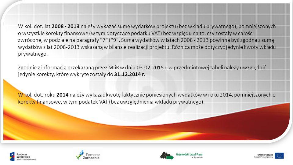 W kol. dot. lat 2008 - 2013 należy wykazać sumę wydatków projektu (bez wkładu prywatnego), pomniejszonych o wszystkie korekty finansowe (w tym dotyczą