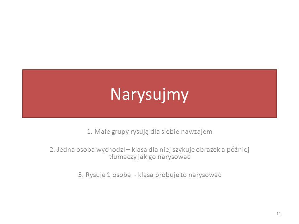 Narysujmy 1. Małe grupy rysują dla siebie nawzajem 2.