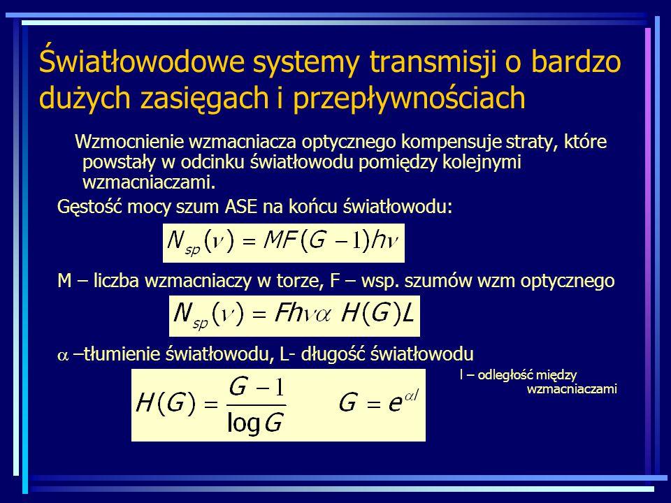 Światłowodowe systemy transmisji o bardzo dużych zasięgach i przepływnościach Wzmocnienie wzmacniacza optycznego kompensuje straty, które powstały w odcinku światłowodu pomiędzy kolejnymi wzmacniaczami.