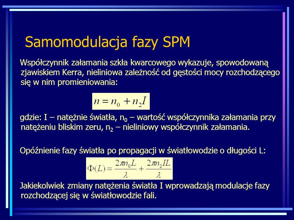 Samomodulacja fazy SPM Współczynnik załamania szkła kwarcowego wykazuje, spowodowaną zjawiskiem Kerra, nieliniowa zależność od gęstości mocy rozchodzącego się w nim promieniowania: gdzie: I – natężnie światła, n 0 – wartość współczynnika załamania przy natężeniu bliskim zeru, n 2 – nieliniowy współczynnik załamania.