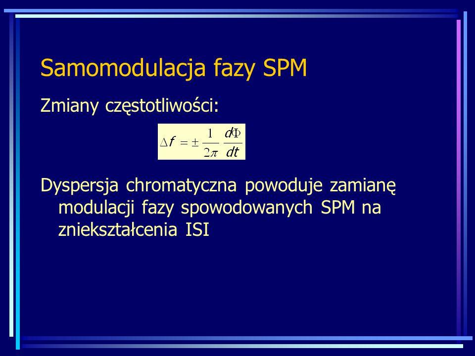 Samomodulacja fazy SPM Zmiany częstotliwości: Dyspersja chromatyczna powoduje zamianę modulacji fazy spowodowanych SPM na zniekształcenia ISI
