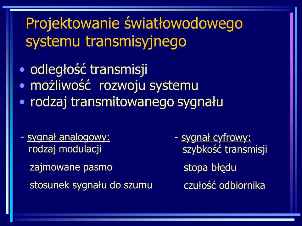 Projektowanie światłowodowego systemu transmisyjnego odległość transmisji możliwość rozwoju systemu rodzaj transmitowanego sygnału - sygnał cyfrowy: szybkość transmisji stopa błędu czułość odbiornika - sygnał analogowy: rodzaj modulacji zajmowane pasmo stosunek sygnału do szumu