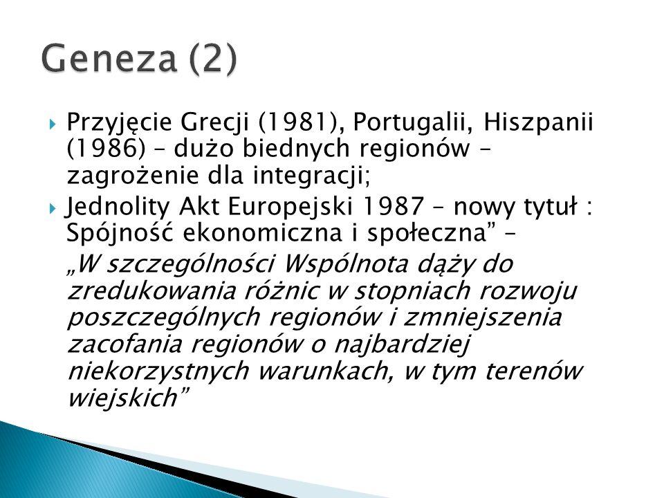 """ Przyjęcie Grecji (1981), Portugalii, Hiszpanii (1986) – dużo biednych regionów – zagrożenie dla integracji;  Jednolity Akt Europejski 1987 – nowy tytuł : Spójność ekonomiczna i społeczna – """"W szczególności Wspólnota dąży do zredukowania różnic w stopniach rozwoju poszczególnych regionów i zmniejszenia zacofania regionów o najbardziej niekorzystnych warunkach, w tym terenów wiejskich"""