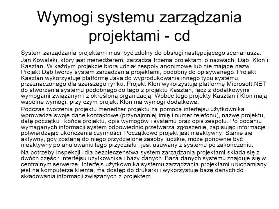 Wymogi systemu zarządzania projektami - cd System zarządzania projektami musi być zdolny do obsługi następującego scenariusza: Jan Kowalski, który jest menedżerem, zarządza trzema projektami o nazwach: Dąb, Klon i Kasztan.
