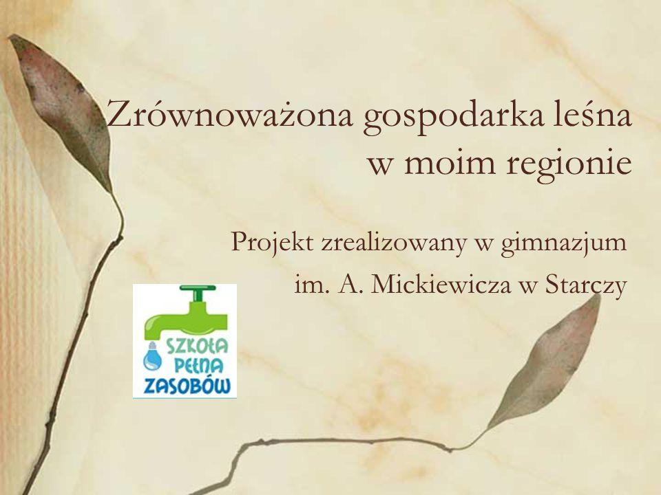 Zrównoważona gospodarka leśna w moim regionie Projekt zrealizowany w gimnazjum im.
