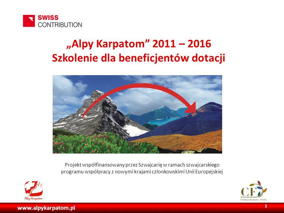 """www.alpykarpatom.pl """"Alpy Karpatom 2011 – 2016 Szkolenie dla beneficjentów dotacji Projekt współfinansowany przez Szwajcarię w ramach szwajcarskiego programu współpracy z nowymi krajami członkowskimi Unii Europejskiej 1"""